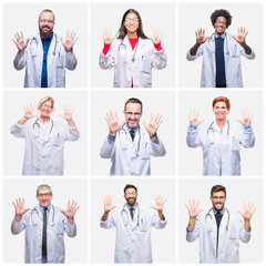Collage of group of doctor people wearing stethoscope over isolated background showing and pointing up with fingers number ten while smiling confident and happy.