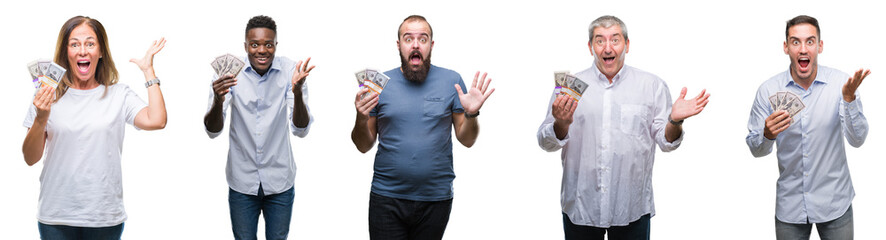 Collage of group of business people holding bunch of dollars cash over isolated background very happy and excited, winner expression celebrating victory screaming with big smile and raised hands