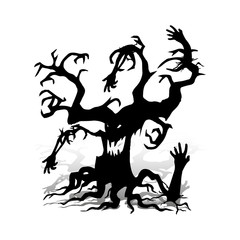 Scary tree without leaves, design for the holiday of Halloween, on a white background,