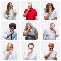 Collage of group of young, middle age and senior people over isolated background feeling unwell and coughing as symptom for cold or bronchitis. Healthcare concept.