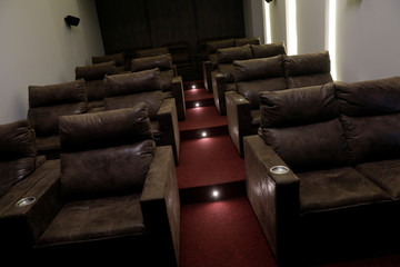 A cinema is pictured at the common area of the upscale residential building Bella Vita, recently constructed in Luis Eduardo Magalhaes