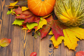 Thanksgiving background. Autumn vegetables, berries and leaves on a wooden Board. The concept of thanksgiving.