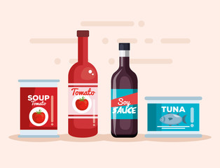 soy sauce with tuna can and tomato products
