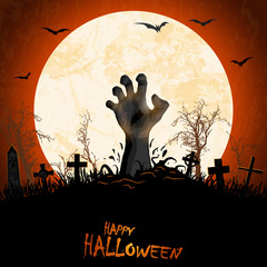halloween zombie hand in front of full moon