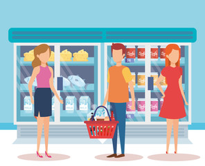 people in supermarket refrigerator with products