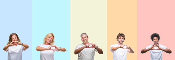 Collage of group of young and middle age people wearing white t-shirt over color isolated background smiling in love showing heart symbol and shape with hands. Romantic concept.