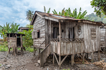 Village self built homes houses made from wood by villagers. Travel to Sao Tome and Principe. Beautiful paradise island in Gulf of Guinea. Former colony of Portugal.