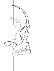 Human Skull Continuous Vector Line Art Illustration