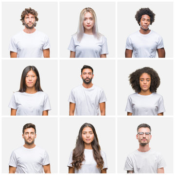 Collage of group of people wearing casual white t-shirt over isolated background with serious expression on face. Simple and natural looking at the camera.