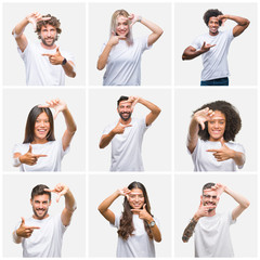 Collage of group of people wearing casual white t-shirt over isolated background smiling making frame with hands and fingers with happy face. Creativity and photography concept.