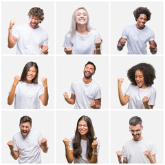 Collage of group of people wearing casual white t-shirt over isolated background very happy and excited doing winner gesture with arms raised, smiling and screaming for success. Celebration concept.
