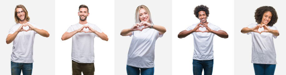 Collage of group of young people wearing white t-shirt over isolated background smiling in love showing heart symbol and shape with hands. Romantic concept.