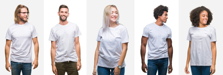 Collage of group of young people wearing white t-shirt over isolated background looking away to side with smile on face, natural expression. Laughing confident.