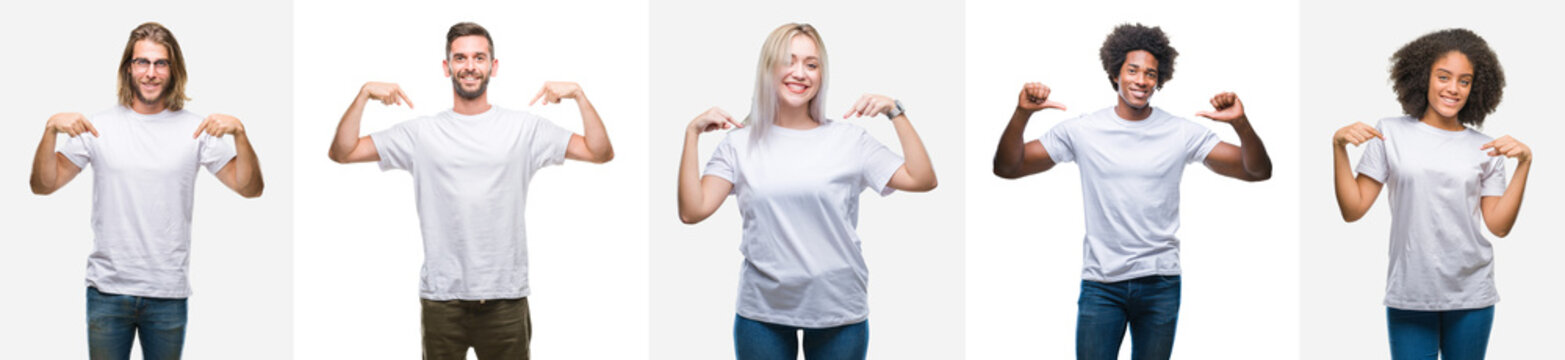 Collage of group of young people wearing white t-shirt over isolated background looking confident with smile on face, pointing oneself with fingers proud and happy.