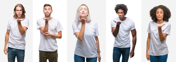 Collage of group of young people wearing white t-shirt over isolated background looking at the camera blowing a kiss with hand on air being lovely and sexy. Love expression.