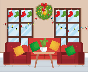 house livingroom with christmas decoration