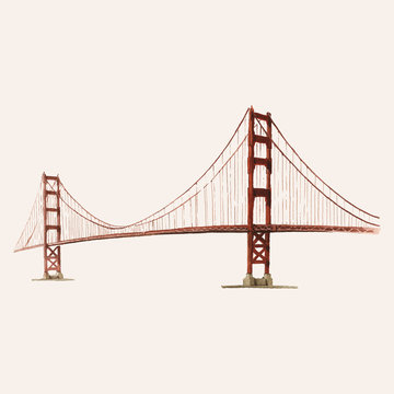 The Golden Gate Bridge painted by watercolor