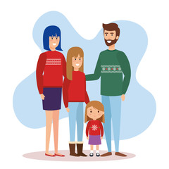 parents couple and daughters with december clothes