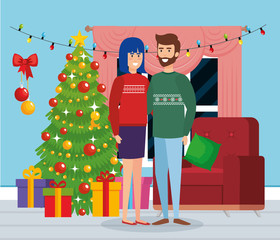 couple with december clothes in the livingroom