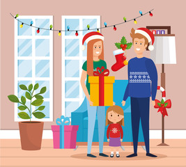 parents couple and daughter with december clothes in livingroom