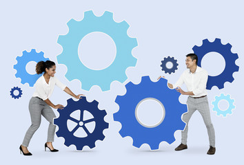 Business partners connecting through gears