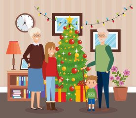 grandparents and kids with december clothes in livingroom