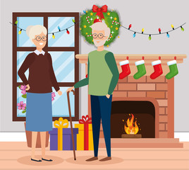 grandparents with december clothes in livingroom
