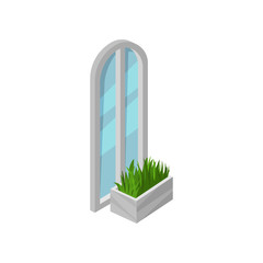 Tall arched window with gray frame and blue glass. Bright green grass in flower bed. Isometric vector design