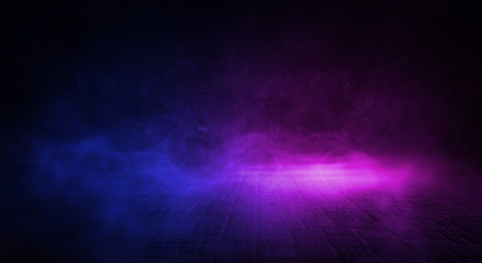 Background of empty room with spotlights and lights, abstract purple background with neon glow