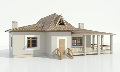 3d rendering of a modern cozy home with a loft under a tiled roof and a large terrace
