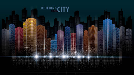 Fotomurales - Abstract Futuristic City vector, Digital Cityscape background. transparent city landscape