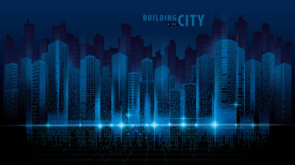 Abstract Futuristic City vector, Digital Cityscape background. transparent city landscape Wall mural