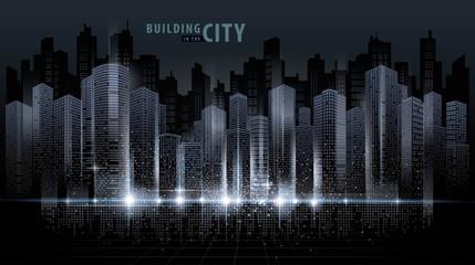 Fototapete - Abstract Futuristic City vector, Digital Cityscape background. transparent city landscape