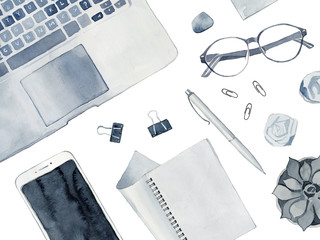 Watercolor Illustration of Flat Lay Business Desk