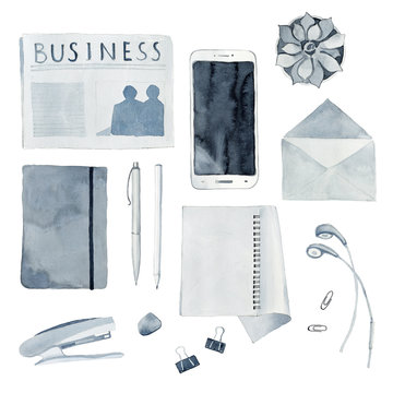 Watercolor Illustration of Flat Lay Office Subjects
