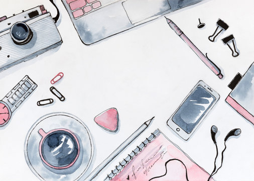 Watercolor Illustration of Flat Lay Business Lady Desk