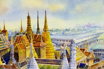 Royal grand palace and Wat phra keaw in Bangkok, Thailand.