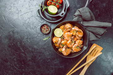 with lemon and thyme in a pan, top