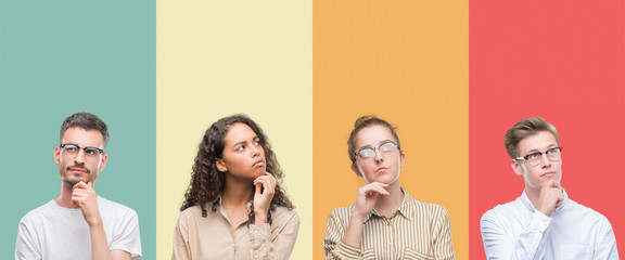 Collage of a group of people isolated over colorful background with hand on chin thinking about question, pensive expression. Smiling with thoughtful face. Doubt concept.