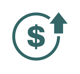 Cost symbol increase icon. Vector symbol image isolated on background