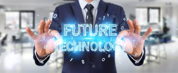 Businessman using future technology text interface 3D rendering