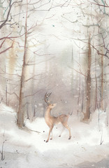 Watercolor winter landscape: snowy forest scene with deer. Hand painted vintage card.