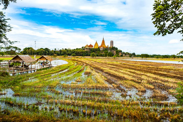 KANCHANABURI THAILAND – August 12, 2018: The Tiger Cave Temple in Tha Muang and Rice field with wooden bridge