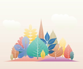 Gradation landscape fantasy background. Fall trees and leaves. Autumn forest template. Vector illustration.
