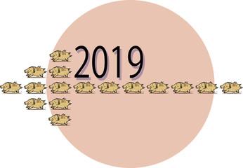 年賀状素材の干支2019