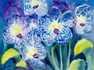 Abstract watercolor original painting blue color of orchid flowers