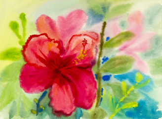 landscape original painting on paper colorful of Chinese rose flower