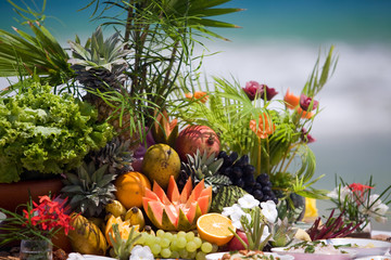 Beautiful display of a variety of delicious, healthy tropical fruit, outdoors