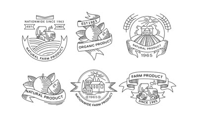 Collection of organic farm products logos, retro labels, emblems for farm market, natural products packaging, restaurant menu, fresh eco frindly food vector Illustration