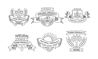Collection of farm products logos, retro labels, emblems for farm market, natural products packaging, restaurant menu, fresh eco frindly food vector Illustration